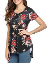 Beyove Womens Tops O Neck Soft T-Shirts Floral Swing Flowy Tunic Casual Loose Blouses Tanks Summer