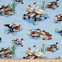 Elizabeth's Studio Waterfowl Scenic Blue Fabric by The Yard