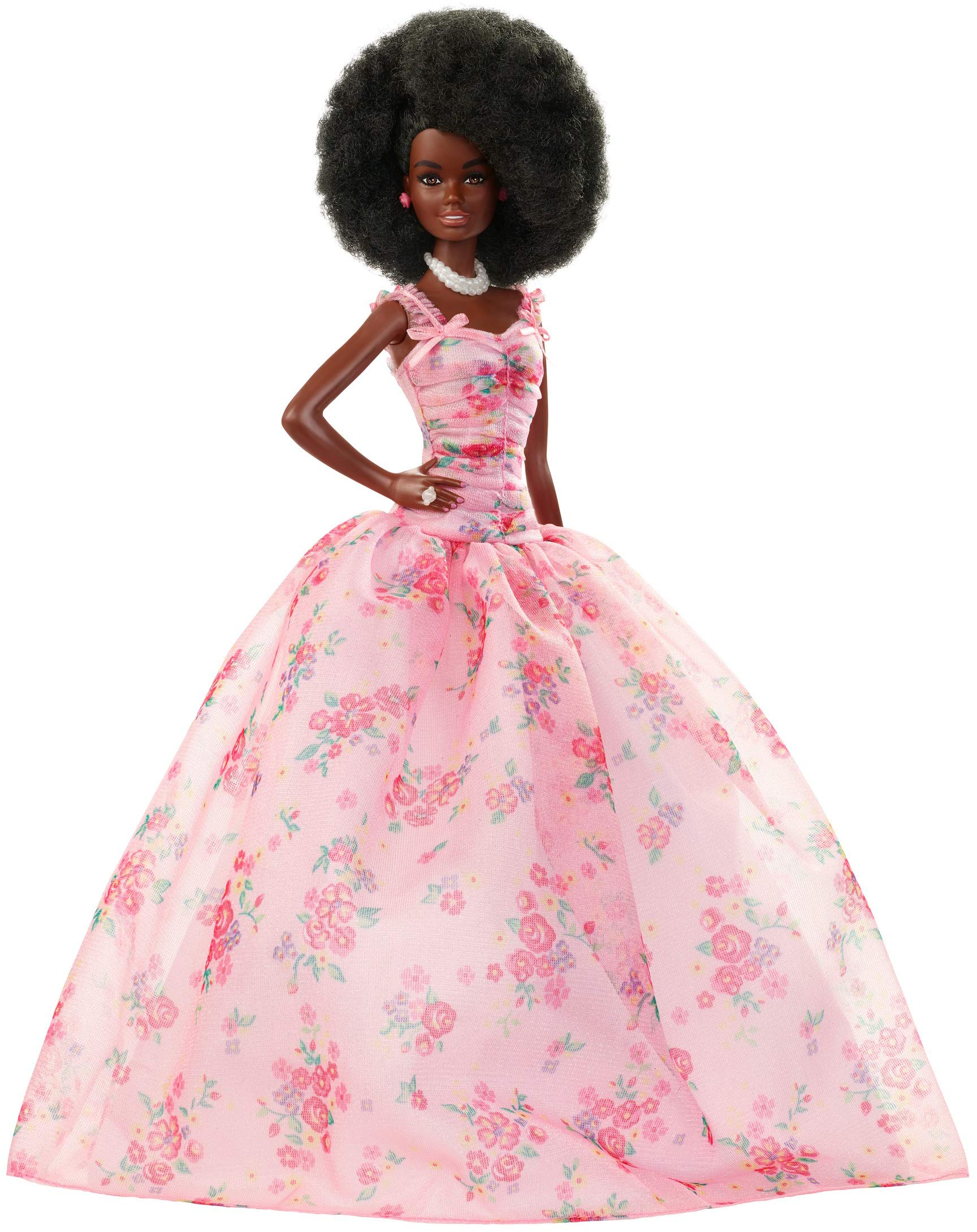 Barbie Collector: Birthday Wishes Doll with Curly Brunette Hair, 11.5-Inch, Wearing Floral Gown, with Doll Stand and Certificate of Authenticity, Makes A Great Gift for 6 Year Olds and Up