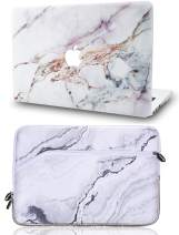 """KECC Laptop Case for MacBook Air 13"""" Retina (2020/2019/2018, Touch ID) with Sleeve Plastic Hard Shell Case A2179/A1932 2 in 1 Bundle (White Marble 4)"""