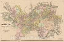 Historic Map - Map of Pittsburgh and Environs from Official Records, Original Plats and Actual Surveys, 1911, R.L. Polk - Vintage Wall Art 24in x 16in