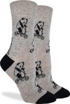 Good Luck Sock Women's Panda Riding Bikes Socks - Grey, Adult Shoe Size 5-9