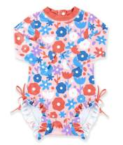 BesserBay Baby Girl's UPF 50+ Sun Protection Swimsuit One Piece 3/4 Sleeve Rash Guard 0-36 Months