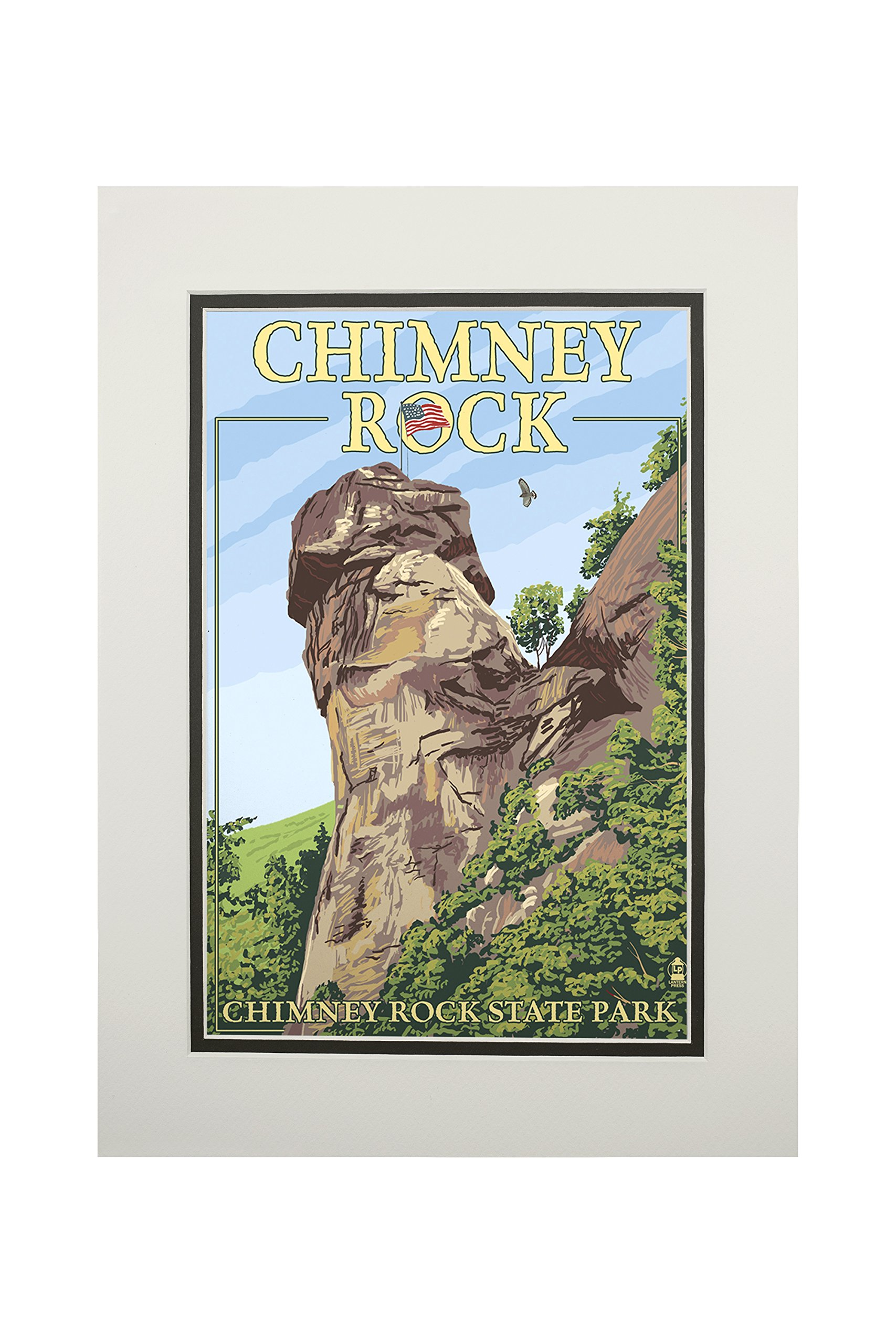 Chimney Rock State Park, North Carolina (11x14 Double-Matted Art Print, Wall Decor Ready to Frame)