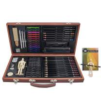Professional Art kit, 58 Piece Drawing and Sketching Art Set, Colored Pencils and Charcoal Pencils in Wooden Box, Art Supplies for Kids, Teens and Adults