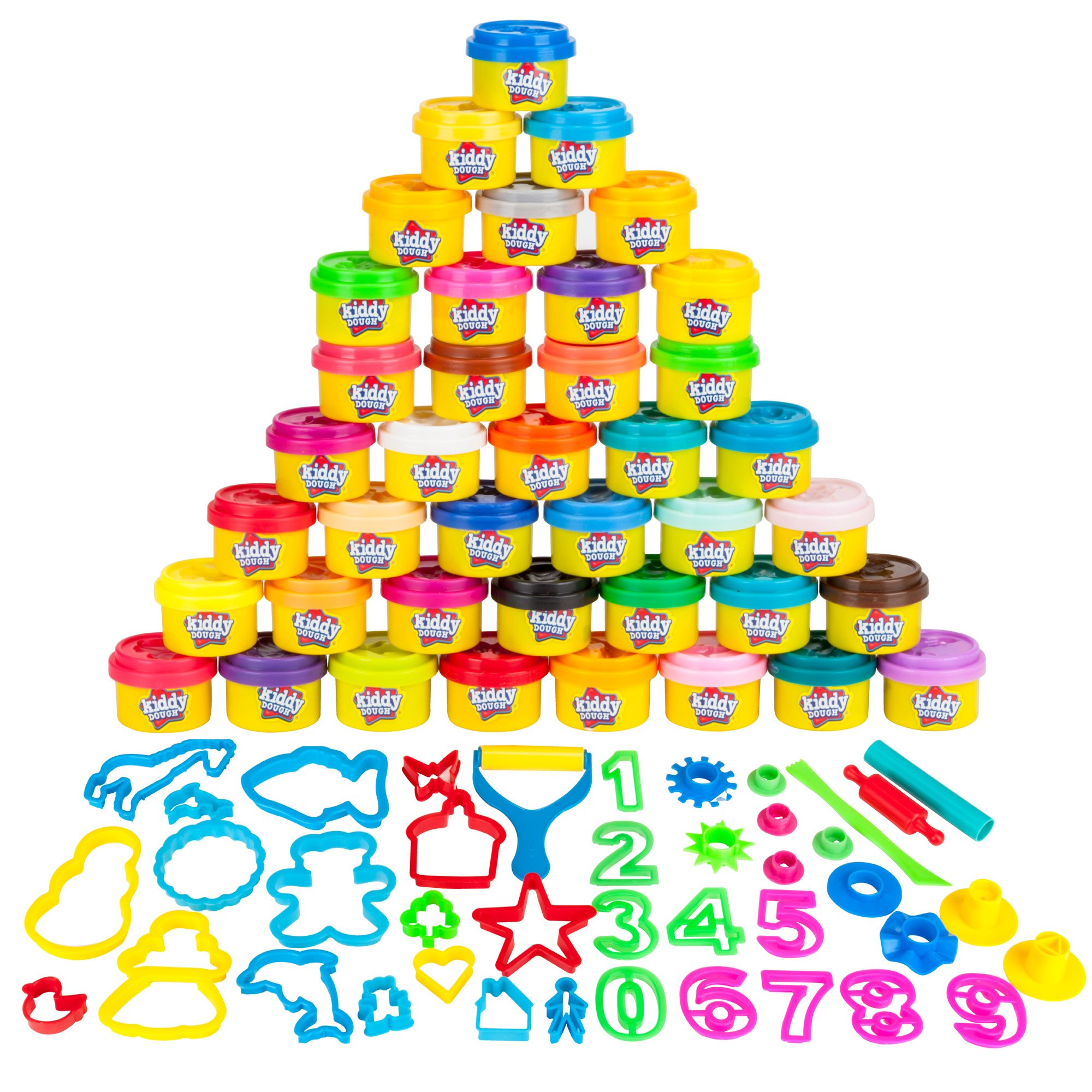 KIDDY DOUGH 40 Pack of Birthday Party Favors Bulk Dough & Clay Pack - Includes Molded Animal Shaped Lids + 40 Shapes & Numbers Dough Tools - Holiday Edition - (1oz Tubs - 40oz Total), Multi Color