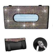 LIFUTOPIA Full Jewelled Car Visor Tissue Mask Holder Sparkling Bling Crystals W/Glitter Mask Hook Clip Colorful