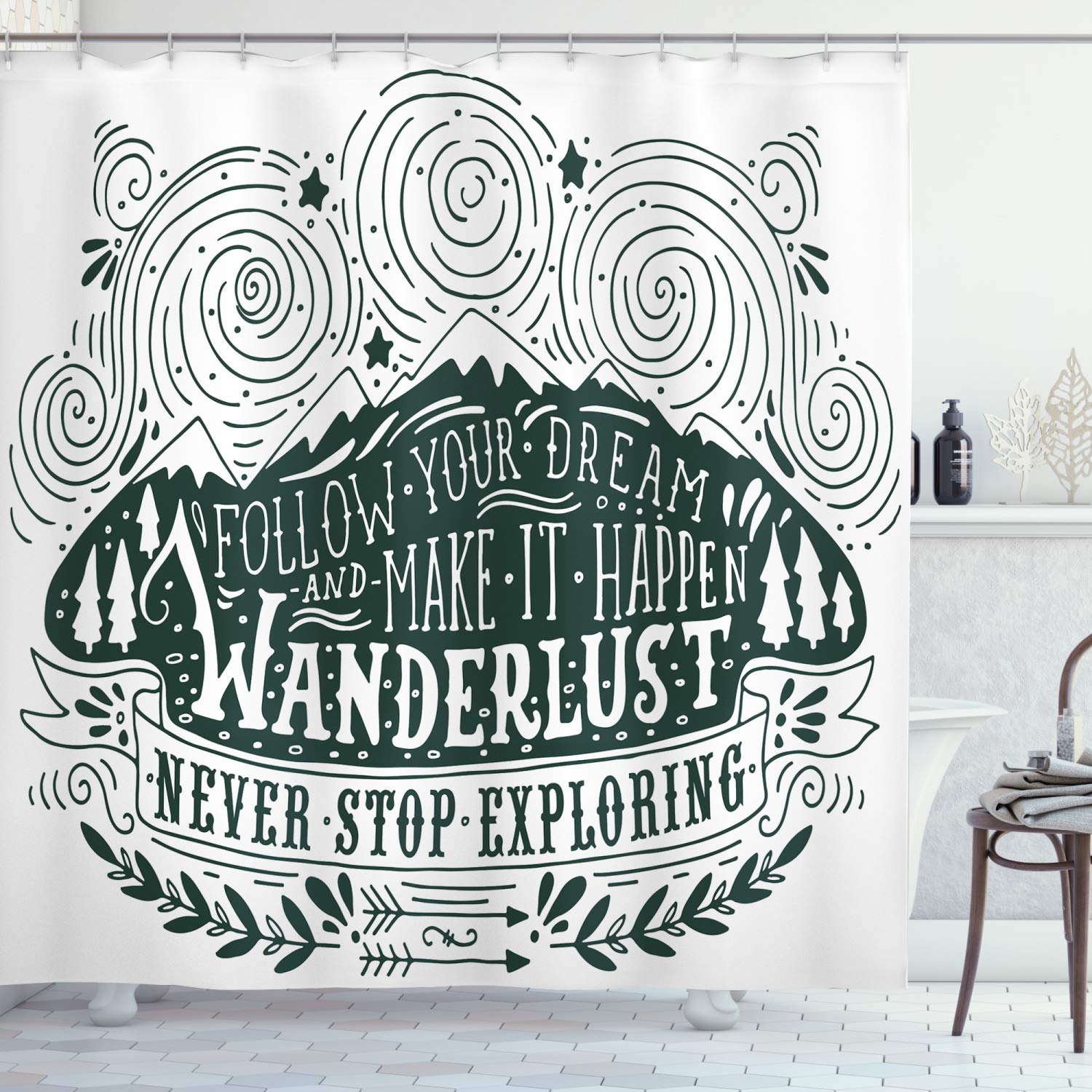 """Ambesonne Adventure Shower Curtain, Journey and Exploration Themed Follow Your Dream Words Wanderlust Abstract, Cloth Fabric Bathroom Decor Set with Hooks, 84"""" Long Extra, Dark Green"""
