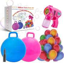 Indoor Outdoor Games Bubbles for Kids Toys Balloons - 2 Hopper Balls Bubble Gun 100 Balloons And Pump For Family Games Activities Carnival Birthday Party Games Toys Gifts Indoor Yard Backyard Games