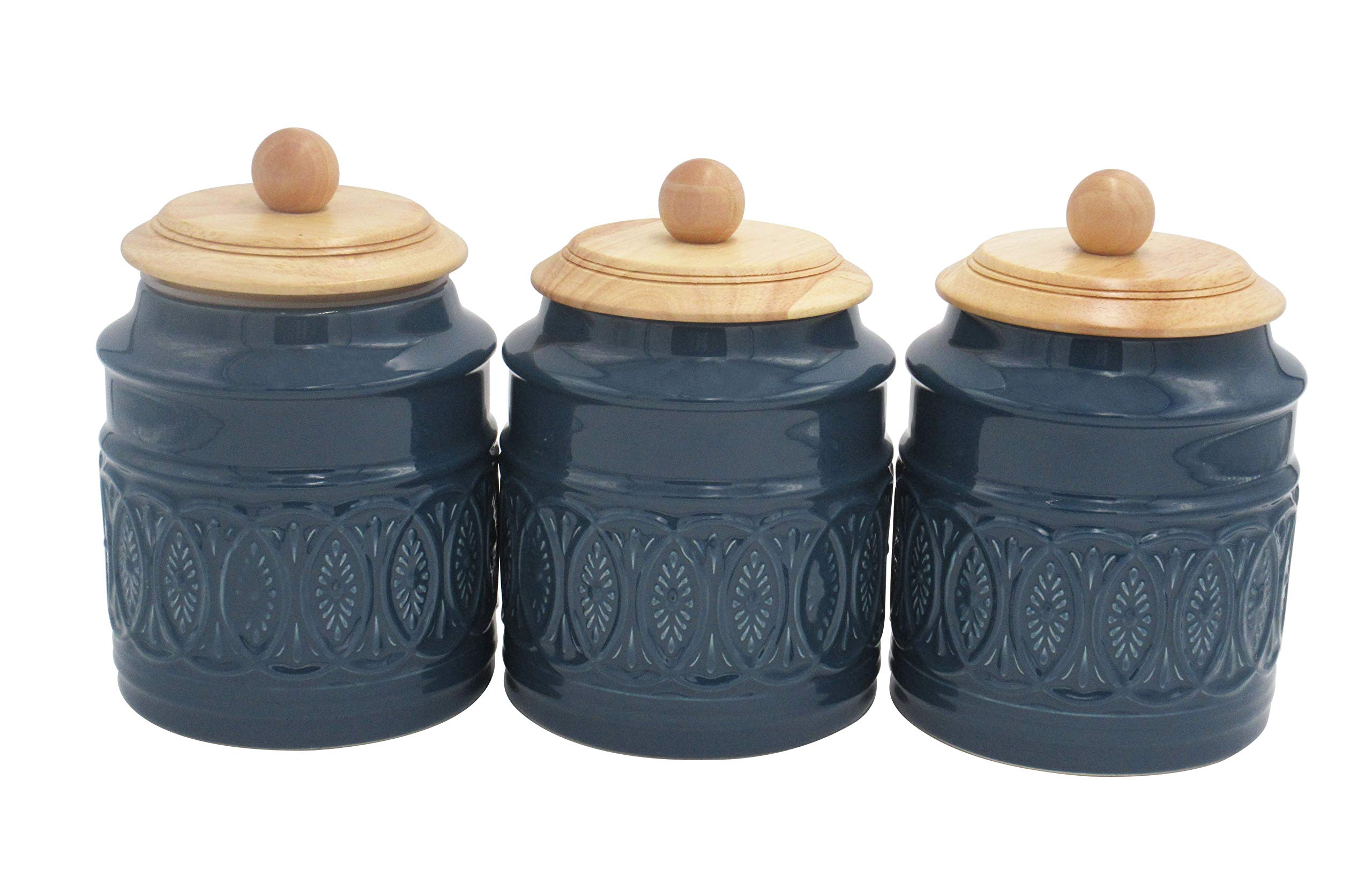 Amazon Brand – Ravenna Home Classic Stoneware 3-Piece Filigree Canister Set - Set of 3, Blue with Wood Lid