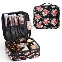 Stagaint Travel Makeup Bag Organizer Train Case Portable Train Cosmetic Case Organizer with Adjustable Dividers Large Capacity for Cosmetic Makeup Brushes Toiletry Jewelry Gift for Women and Girls - Rose Floral