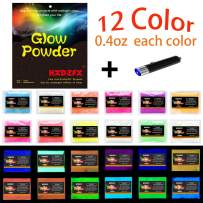 HXDZFX Glow in The Dark Pigment Powder UV Powder(Set of 12 Packs 0.4oz Each) Safe Non-Toxic for Slime,Nails,Epoxy Resin,Acrylic Paint,Halloween,Acrylic Paint,Fine Art and DIY Crafts