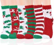Aniwon Christmas Fuzzy Socks,6 Pairs Christmas Holiday Socks Soft Cozy Socks Warm Slipper Winter Socks for Women