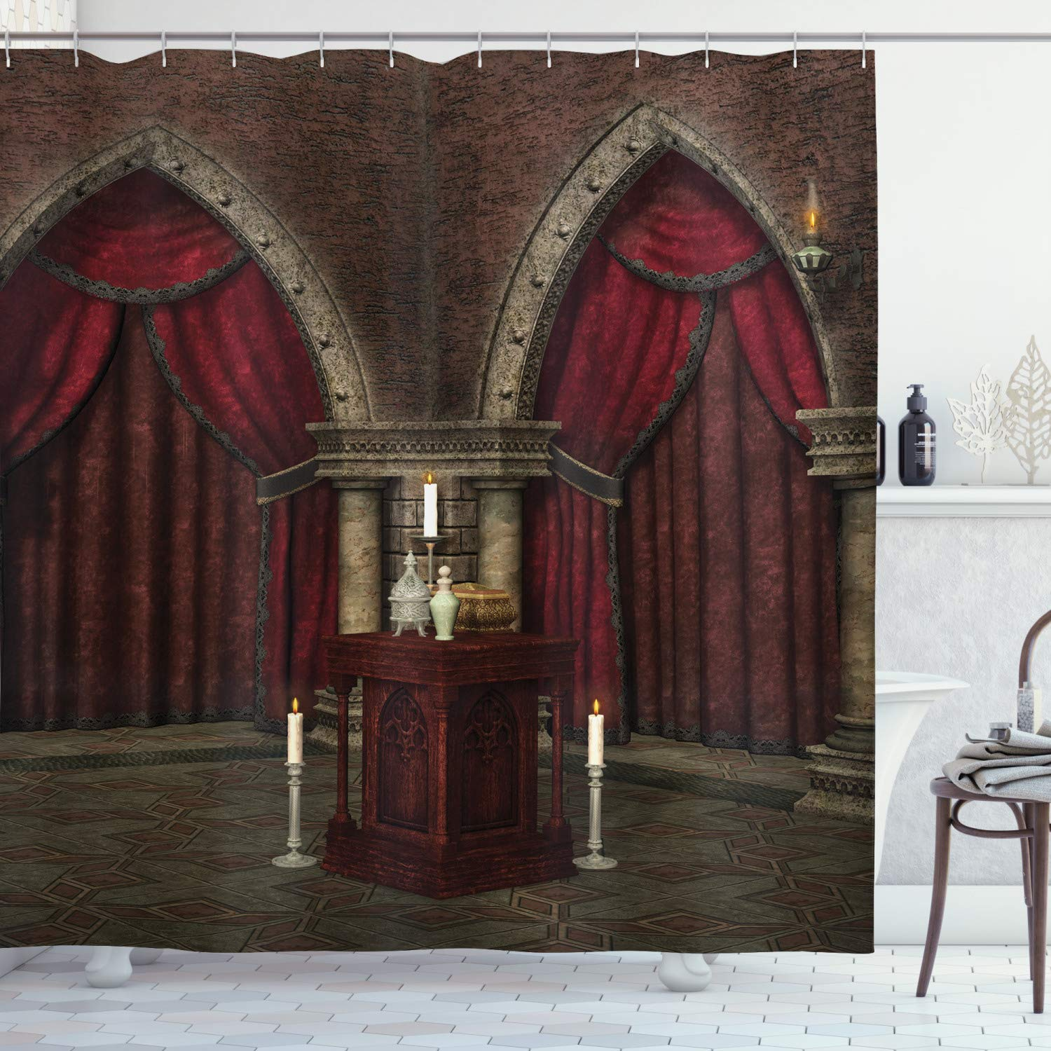 """Ambesonne Gothic Shower Curtain, Mysterious Dark Room in Castle Pillars Candles Atmosphere Pattern, Cloth Fabric Bathroom Decor Set with Hooks, 75"""" Long, Black Red"""