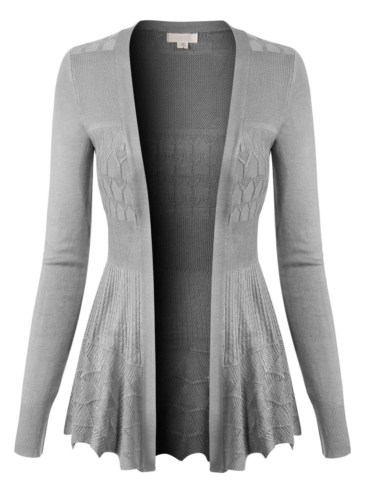 Design by Olivia Women's Long Sleeve Crochet Knit Draped Open Sweater Cardigan