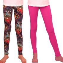 Syleia Girl Leggings 2 Pairs Star & Solid Pink Great Stretch (Age 4-12)