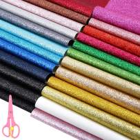 Caydo 24 Colors Shiny Superfine Glitter Fabric, PU Leather Fabric Sheet Canvas Back for Craft DIY, Hair Crafts Making, Leather Earings Making and Christmas Decoration 12.6 x 8.6 Inch (32 x 22 cm)