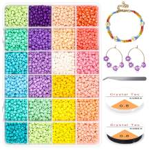 1920Pcs 6/0 Glass Pony Seed Beads Kit, Gacuyi 24Colors 4mm Small Craft Beads for DIY Bracelet Necklace Crafting Jewelry Making Supply with 2Pcs 0.8mm Elastic String and Tweezers (80Pcs Per Color)