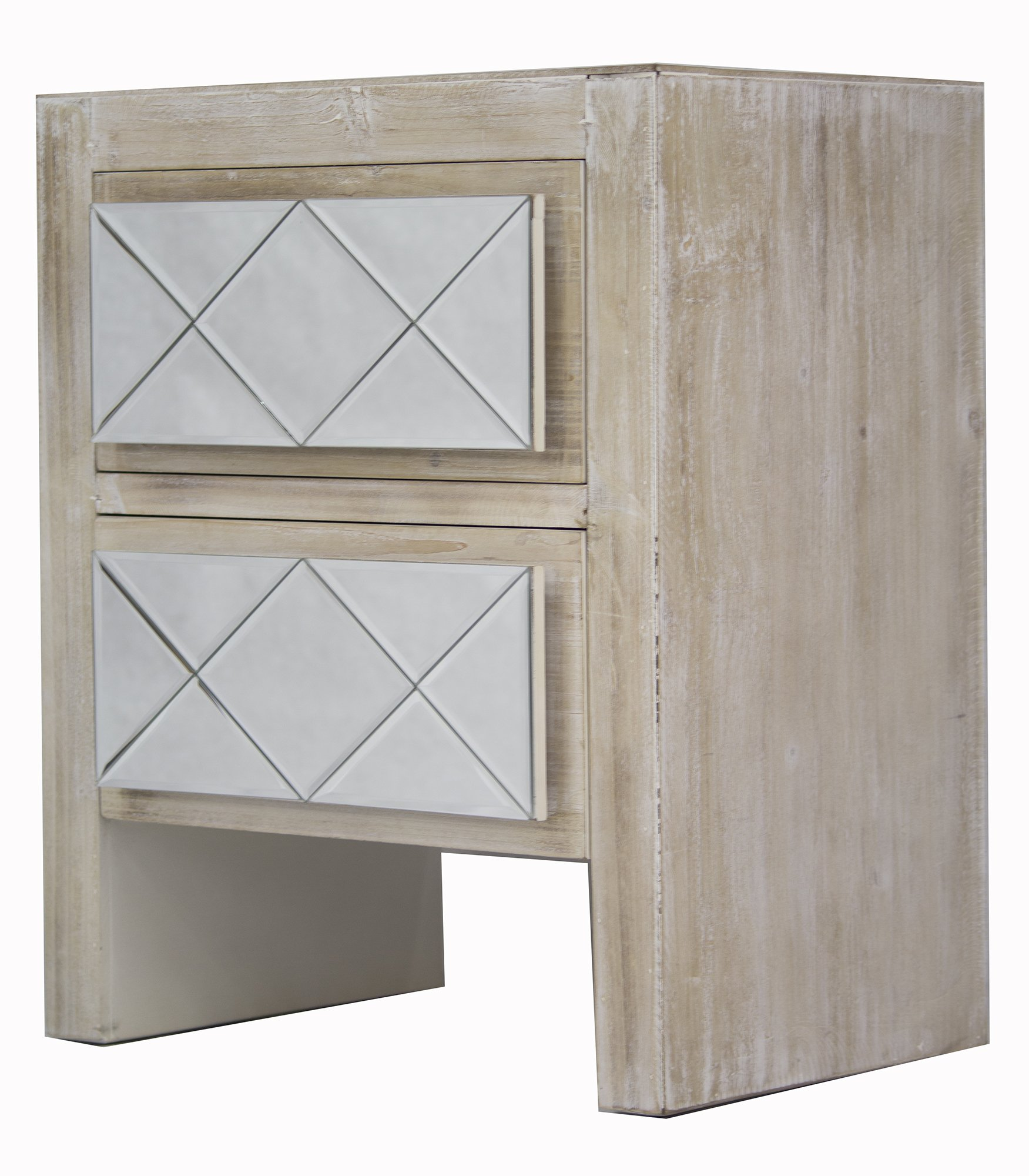 Heather Ann Creations Kayla Collection Modern Accent Cabinet With Two Drawers and Decorative Mirrored Finish Design, Distressed Silver