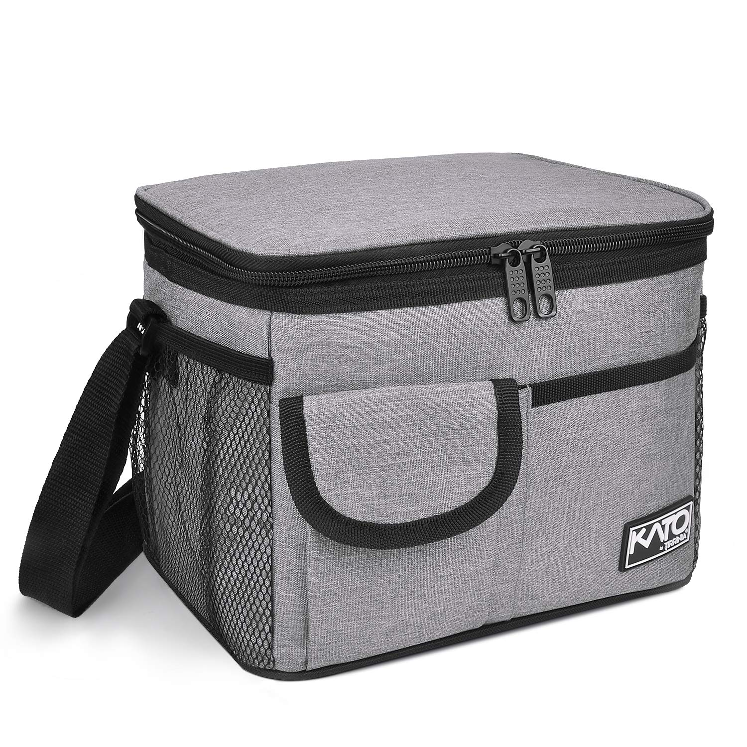 Insulated Lunch Box for Women Men, Leakproof Thermal Reusable Lunch Bag with 4 Pockets for Adult & Kids, Lunch Bag Cooler Tote for Office Work by Tirrinia, Gray