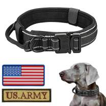 """Reflective Tactical Dog Collar with USA American Flag,Military Dog Collar with Handle & Heavy Duty Metal Buckle 1.5"""" Width Nylon Thick Adjustable K9 Collar for Medium Large XL Dogs(M,Black)"""