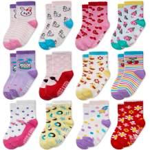 Evercute Baby Toddler Non Slip Crew Socks 12 pack Anti Skid Infant Socks With Grips For Little Girl Kids