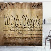 """Ambesonne United States Shower Curtain, Vintage Constitution Text of America National Glory 4th of July Image, Cloth Fabric Bathroom Decor Set with Hooks, 84"""" Long Extra, Pale Brown"""