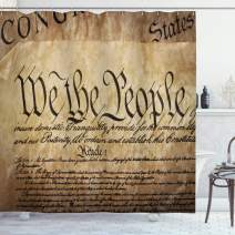 """Ambesonne United States Shower Curtain, Vintage Constitution Text of America National Glory 4th of July Image, Cloth Fabric Bathroom Decor Set with Hooks, 70"""" Long, Pale Brown"""