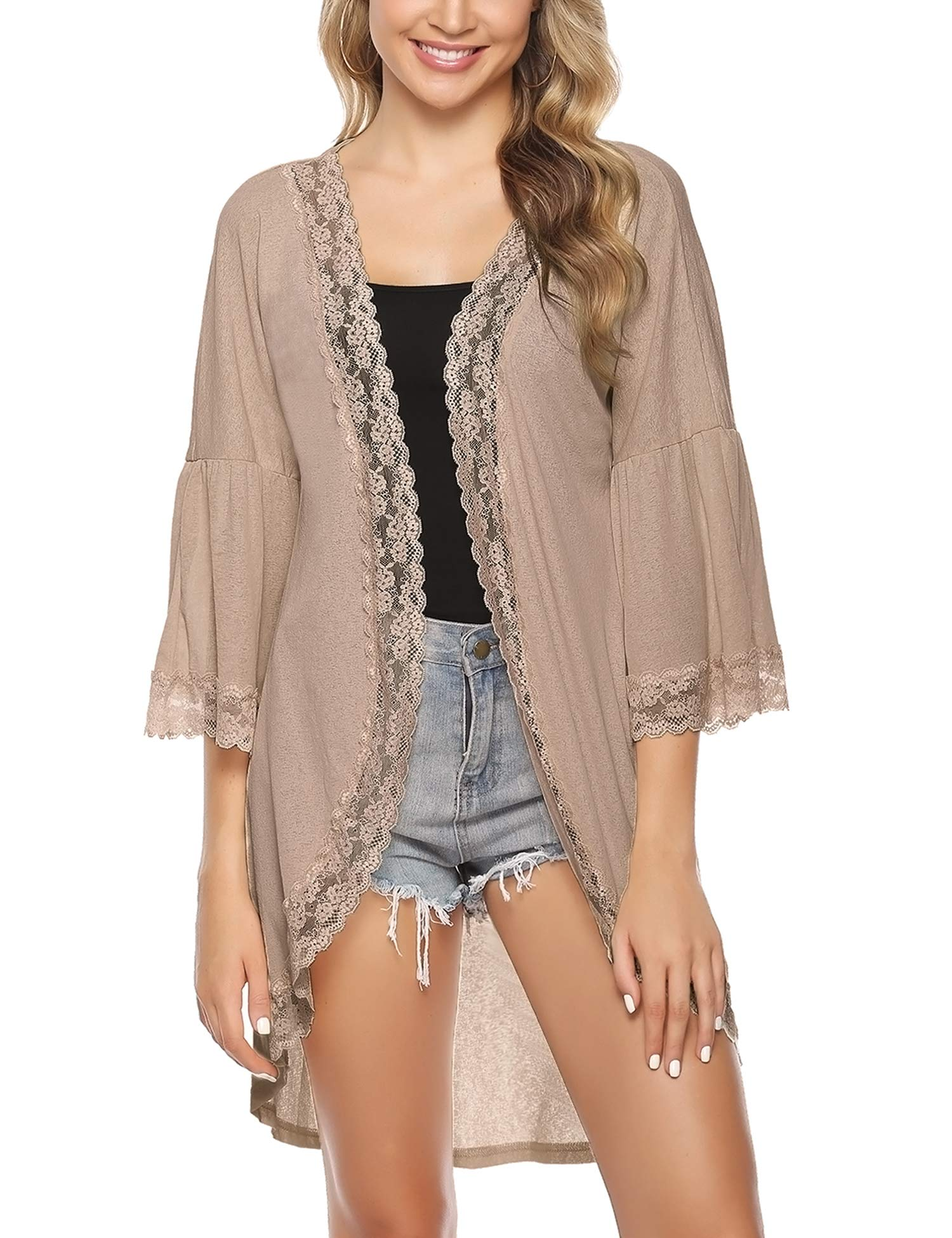 iClosam Women's Cardigan Cover Up 3/4 Bell Sleeve Lace Kimono Cardigan Blouse Top