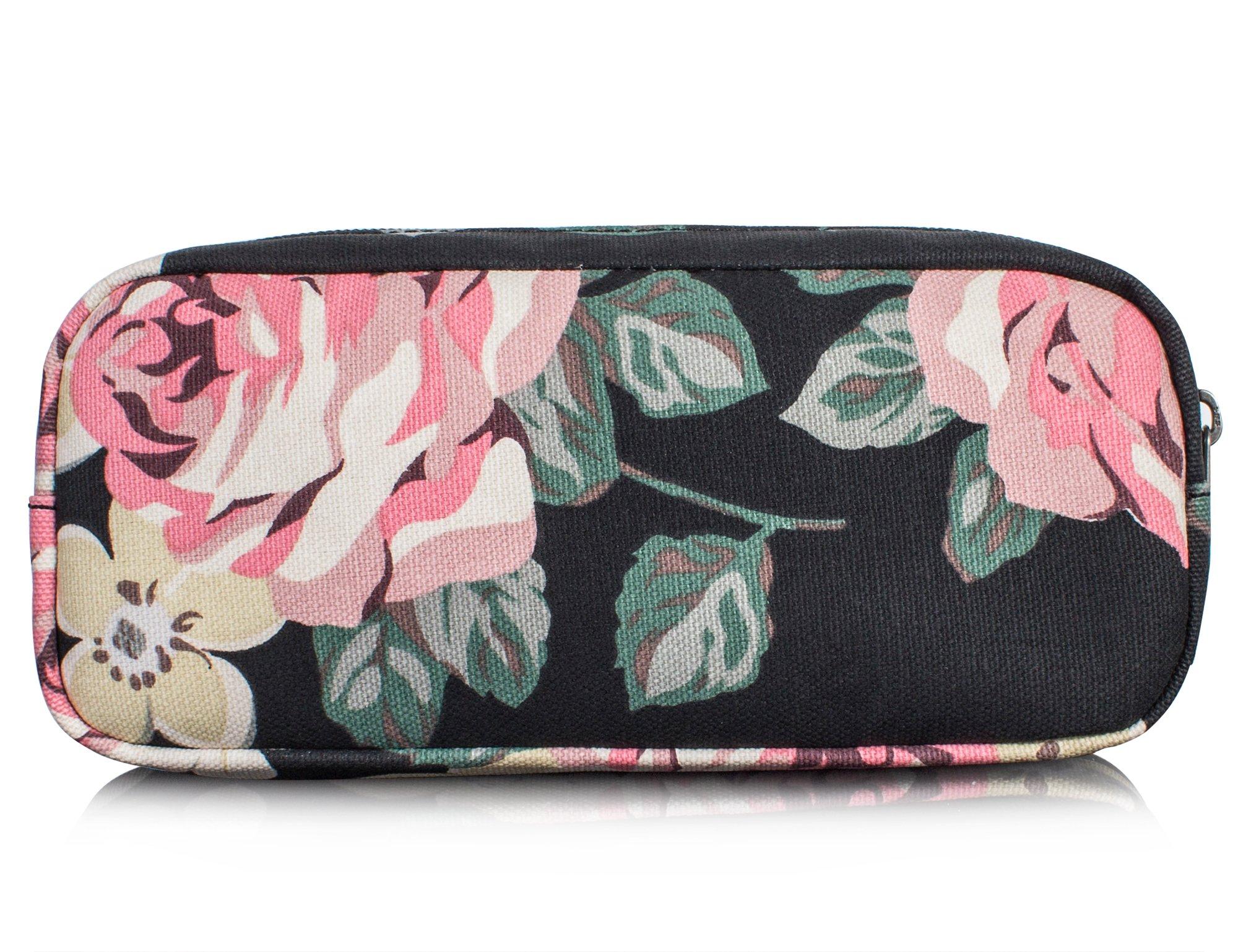 Leaper Floral Pen Pencil Case Coin Purse Pouch Cosmetic Makeup Bag Black