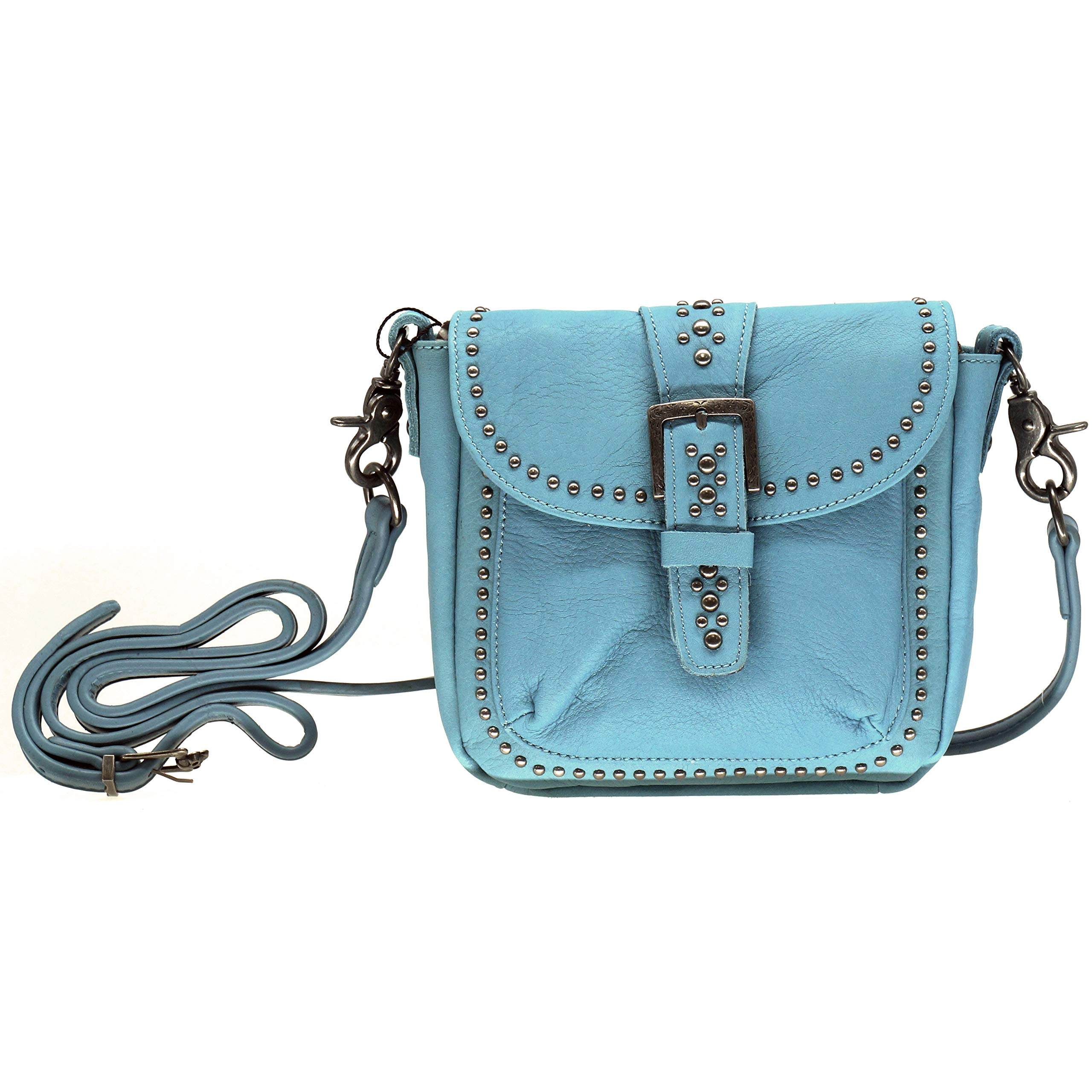 Montana West Real Leather Western Studded Crossbody Small Purse For Women