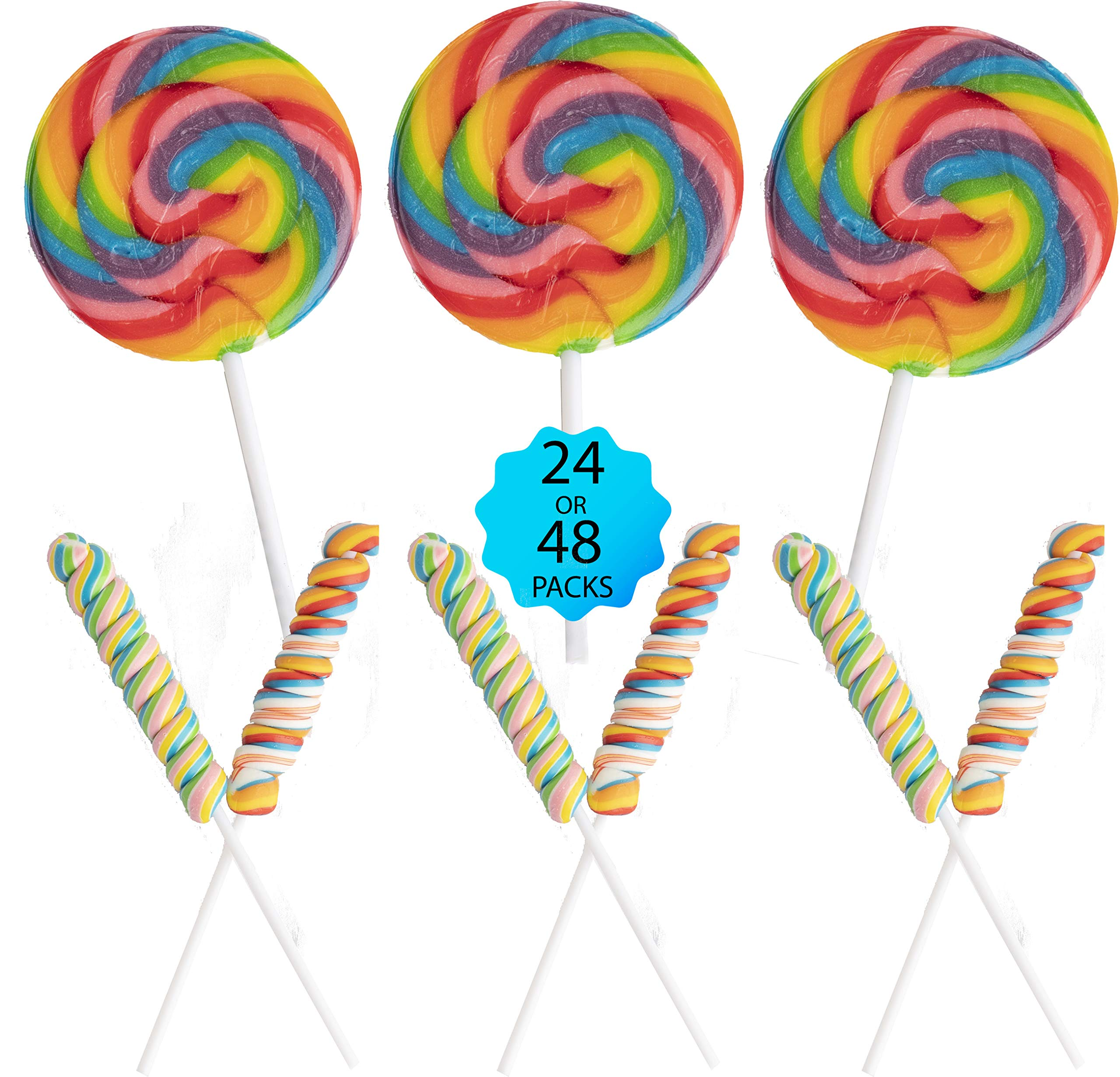 48 Large Swirl Candy Lollipops for Stay-at-Home Fun - 24 Rainbow Swirl Suckers & 24 Twisty Unicorn Pops * Home Quarantine Birthday Party Favors - 48 Pieces