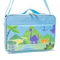 "Lunch Bags for Kids and Toddlers, Insulated and Water-Resistant Lunch Bag, Reusable Cooler Bags with Adjustable Strap, 10"" x 7"" x 3.5"" (Blue Dinosaur)"