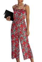 BTFBM Women Cute Floral Print Ruffle Jumpsuit Adjustable Spaghetti Strap Sleeveless High Waist Wide Leg Pant Romper
