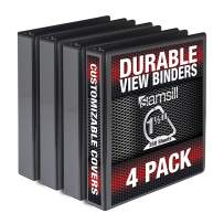 Samsill Durable 1.5 Inch Binder D Ring/Black Binder/Bulk Binder 4 Pack/Customizable Clear View Binder/Black 3 Ring Binder / 1.5 Inch Binder