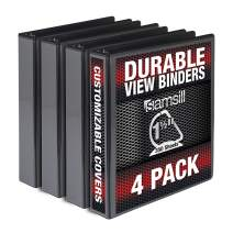 Samsill Durable 1.5 Inch Binder D Ring/Black Binder/Bulk Binder 4 Pack/Customizable Clear View Binder/Black 3 Ring Binder / 1.5 Inch Binder