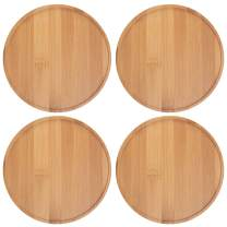 EPFamily 4 Pack Bamboo Plant Saucers,6.6 inch Succulent Cactus Planter Pot Tray Round Plant Pot Tray for Modern Ceramic Flower Pot