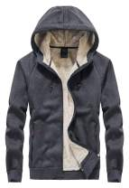 Flygo Men's Classic Sherpa Lined Full Zip Up Hoodies Sweatshirt Jacket Outwear