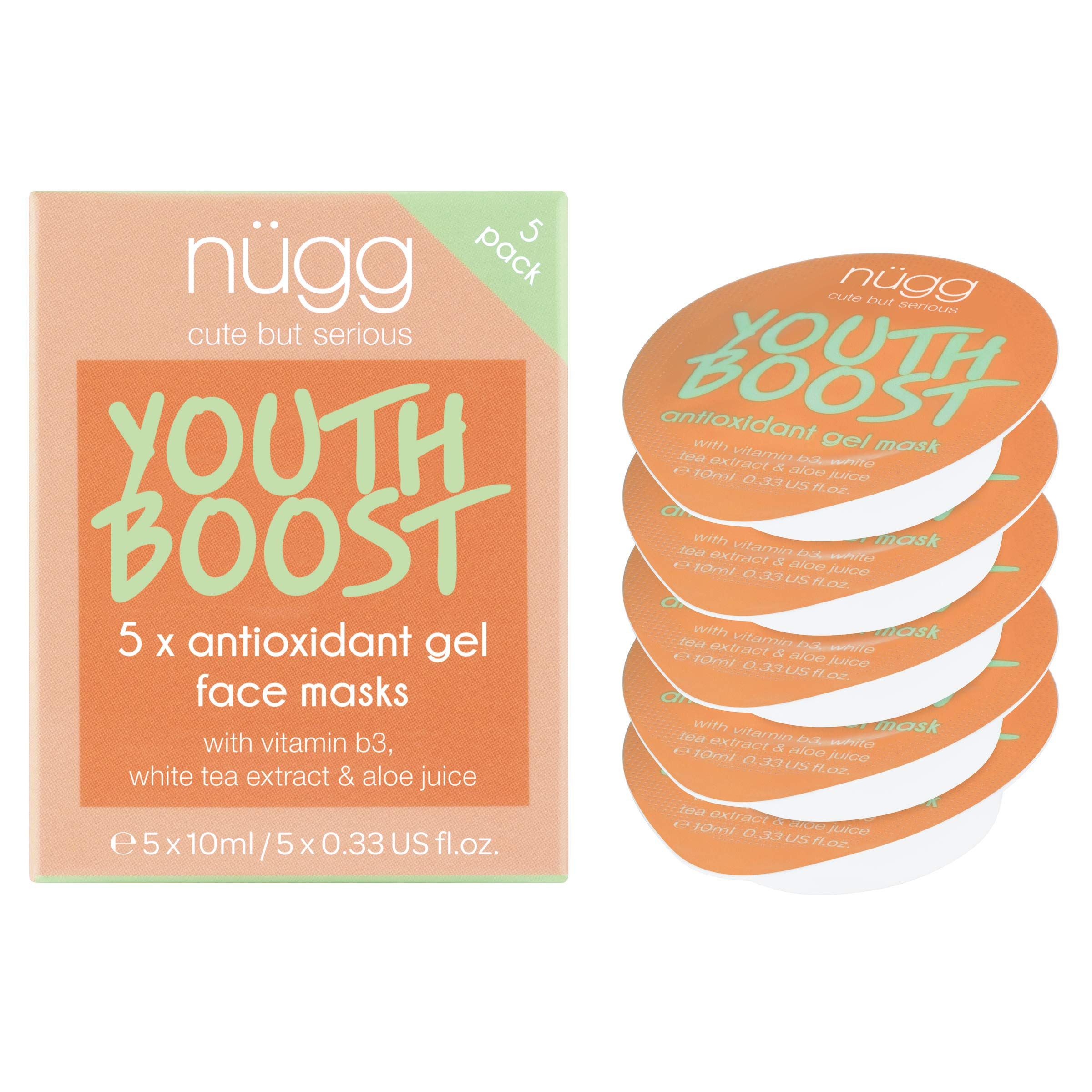 nügg Beauty Anti Aging Facial Skin Treatment - Vitamin B3 & White Tea Extract - 0.33 oz. each - 5 ct (1.65 oz total)