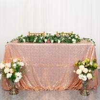 ShinyBeauty Rose Gold Table Cover, Tablecloths for Rectangle Tables 60''x120'' Rose Gold Sequin Table Cloth -0727S