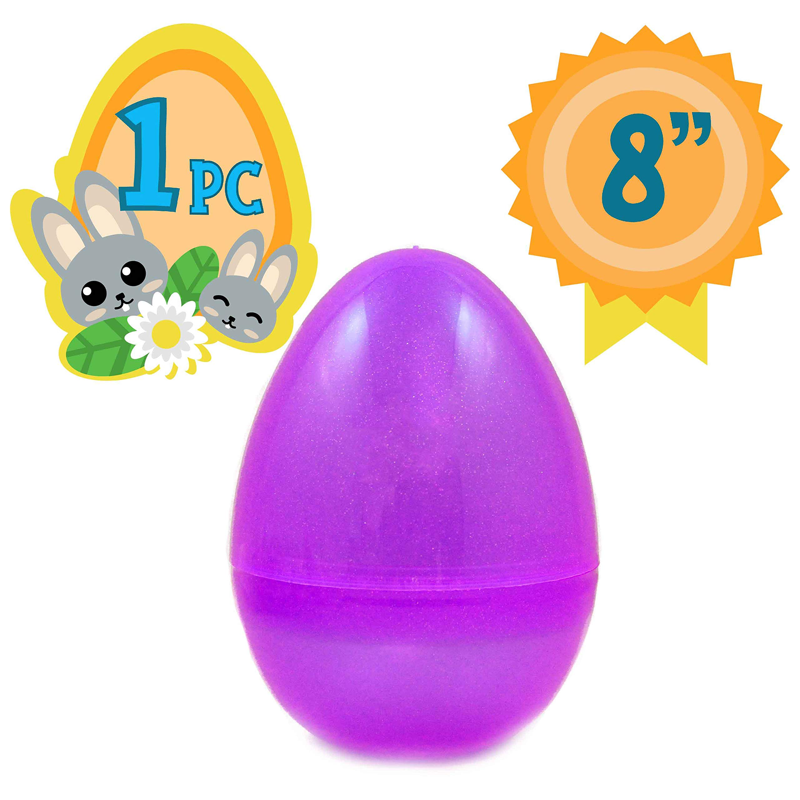 Jumbo 8-Inch Transparent Purple Glitter Easter Egg - The Perfect Size for Holding Toys, Candy, and Stuffed Animals - Easy to Open, Tough to Break - Great As Party Favors and Easter Basket Stuffers