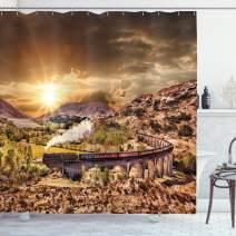 "Ambesonne Wizard Shower Curtain, Wizard School Express Famous Train Landscape Glenfinnan Railway Viaduct Scotland Sunset, Cloth Fabric Bathroom Decor Set with Hooks, 75"" Long, Brown"