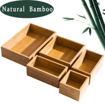 5 Piece Bamboo Drawer Organizer Set, Luxury Wooden Desk Storage Box Kit, Multi-use Junk Drawer Organizer for Office, Kitchen, Bedroom, Children Room, Craft, Sewing