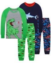 Dolphin&Fish Boys Pajamas 4Piece Toddler Kids Pjs Sets Cotton Toddler Clothes Sleepwears