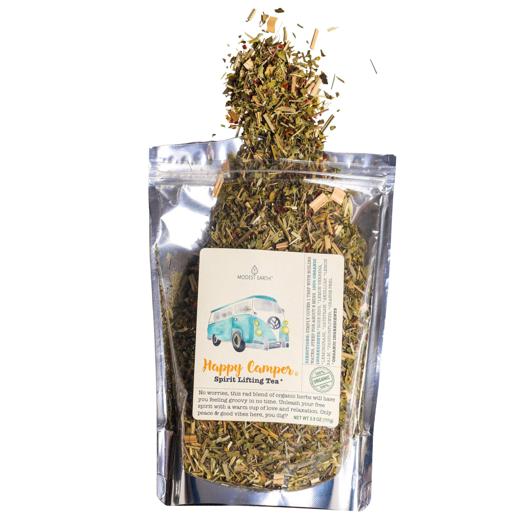 Happy Camper Organic Tea. Calming Properties Help with Anxiety and Depression. Natural Stress Relief. 48+ SERVINGS (3.9 OZ)