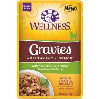 Wellness Healthy Indulgence Natural Grain Free Wet Cat Food Pouches Gravies Chicken & Turkey