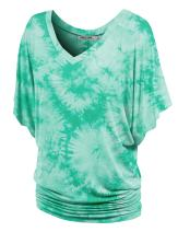 Lock and Love Women's Solid/Tie dye/Ombre Short Sleeve V Neck Dolman Top Shirts Plus Size