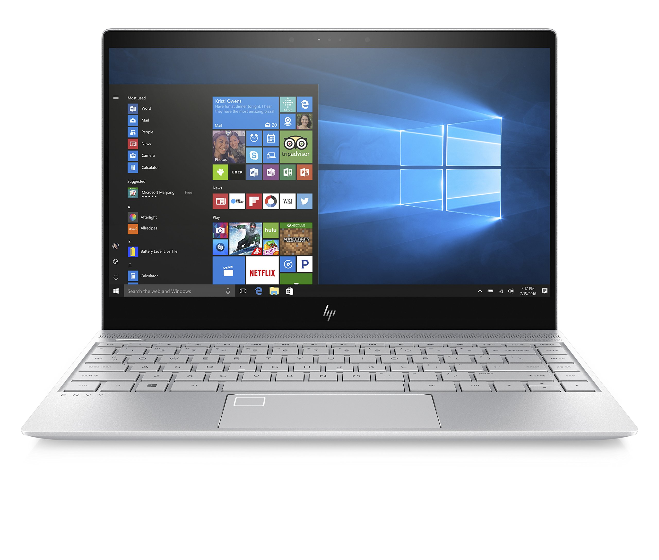 HP ENVY 13-inch Laptop, Intel Core i7-7500U, 8GB RAM, 256GB solid-state drive, Windows 10 (13-ad010nr, Silver)