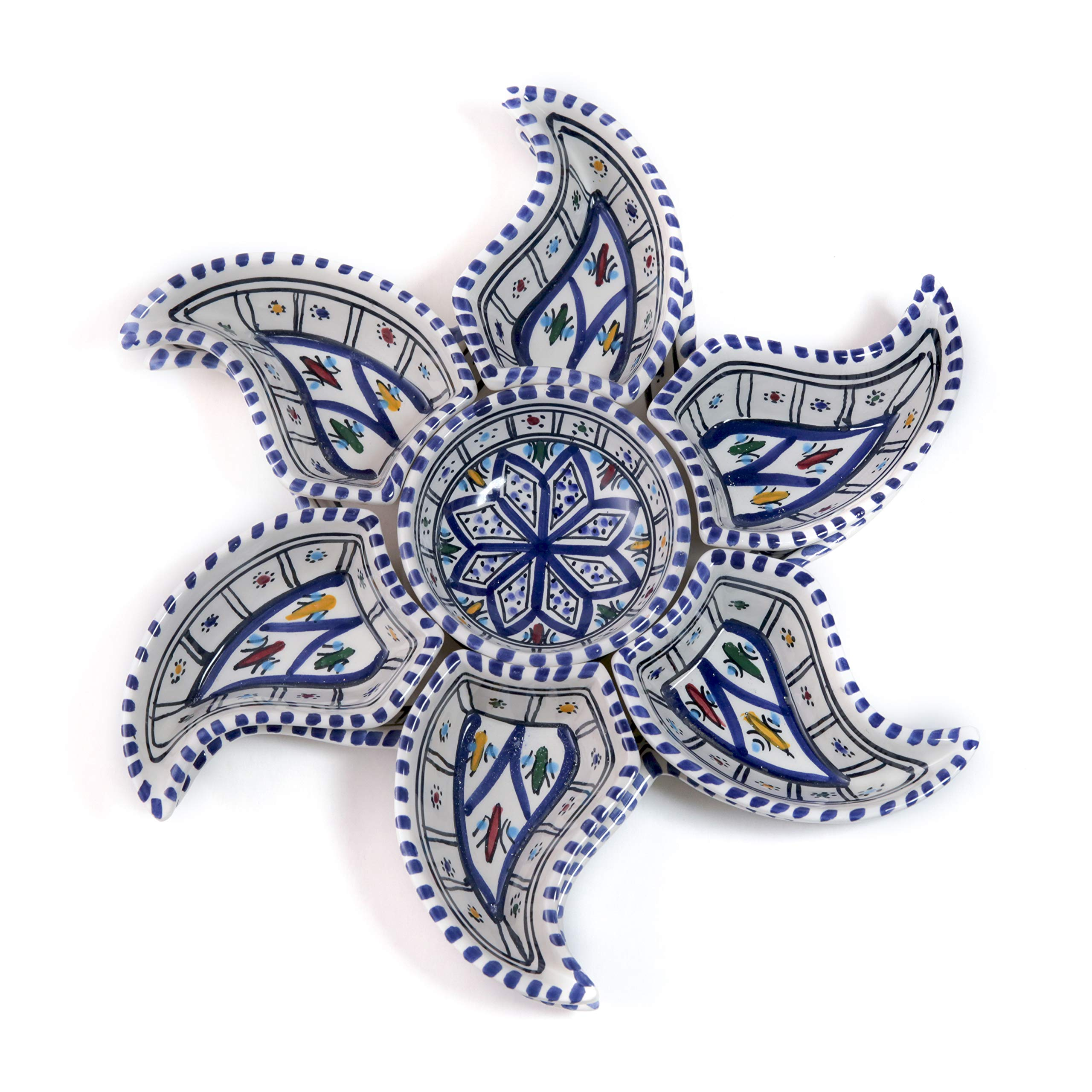 Kamsah 8 Piece Star Dippers Plate Set & Serving Platter, Custom Hand-Painted Ceramic Serving Dishes and Trays for Celebrations, Parties and Events (Large, Bohemian Blue)