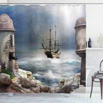 """Ambesonne Sailboat Shower Curtain, Pirate Merchant Shipnchored in The Bay of Fortbandoned Rockst Shore, Cloth Fabric Bathroom Decor Set with Hooks, 84"""" Long Extra, Blue Grey"""